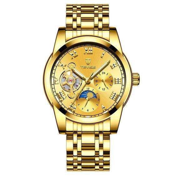 TEVISE Luxury Men Automatic Self-Wind Watch Stainless Steel Bracelet Mechanical Moon Phase Tourbillon Fashion Casual Luxury Wristwatch