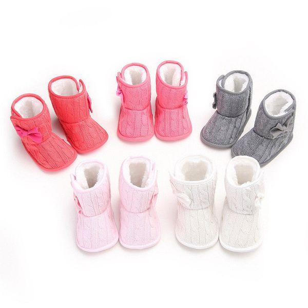 2018 Nueva Marca de Algodón Bow Cute Girl Niño Botas Zapatos Infant Baby Winter Warm Soft Sole Sneakers 0-18 M