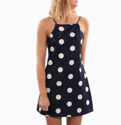 Clothing for Women Dress Summer Cute Dots Design Spaghetti Strap Dresses Back Hollow Out