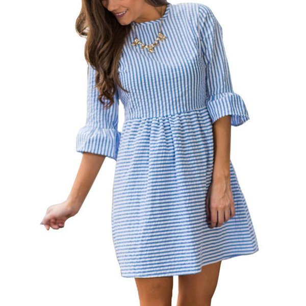 Elegant Women Dresses Striped Dress Flare Sleeves Casual O Neck Mini Beach Party Dress Cheap Clothes China 2017 Vestidos WS1558Y