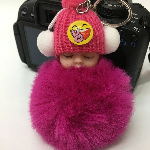 Factory Wholesale Creative Ball Keychain Smiling Sleeping Baby Pompom Pendant Cartoon Car Bag Phone Key Plush Ornament Gift Girls Mini Doll