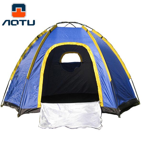 Sechseck Camping Zelt für 3-4 Personen UV-beständig Outdoor Travel Portable Blue