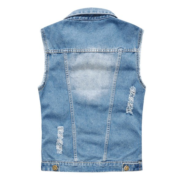87 Denim Vest Men Washed Cowboy Sleeveless Jacket Vintage Street Hip Hop Ripped Men Jeans Waistcoat Plus Size 6XL
