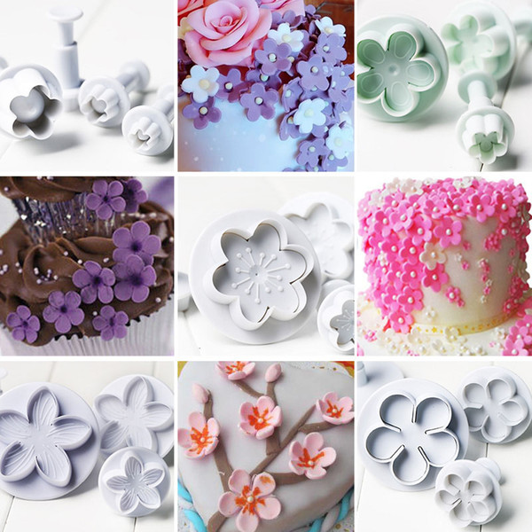 4Pcs/Set Plum Flower Plunger Mould For Cake Fondant Cookies Cookie Cutter Fondant Tool Pressed Embossing Decorating Press Pastry