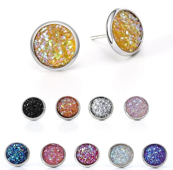 Handmade resin round druzy earrings trendy simple stainless steel Tone wholesaling resin stone earring for lady gift cheap sale