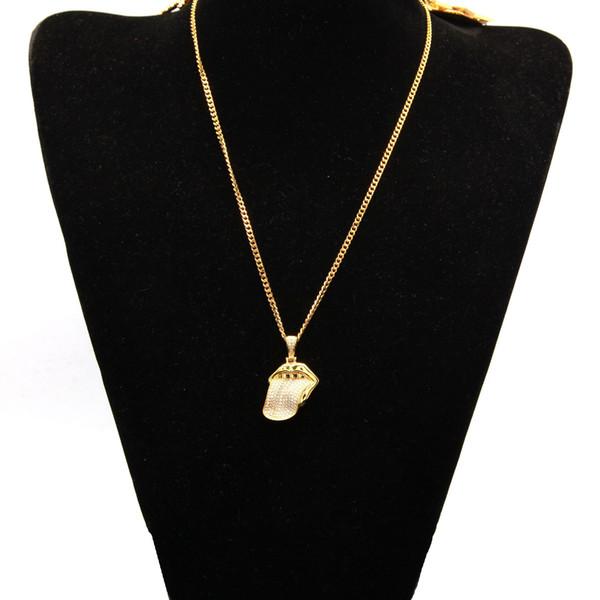 Rolling Stones 18K Big Tongue Gold Silver Copper Inlaid Zircon Hip Hop Men Women Fashion Pendant Necklace Jewelry Specail Necklace H468F