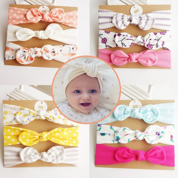 Baby girl Headband Unicorn Mermaid hair accessories Knot Bows Bunny band Birthday gift Flowers Geometric Print 3pcs/card Headbands LC688