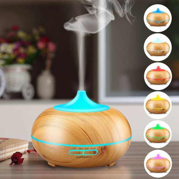 300ml Wood Grain Ultrasonic Cool Mist Humidifier-Quiet Humidifier with Color LED Lights Changing & 4 Timer Settings for Yoga S