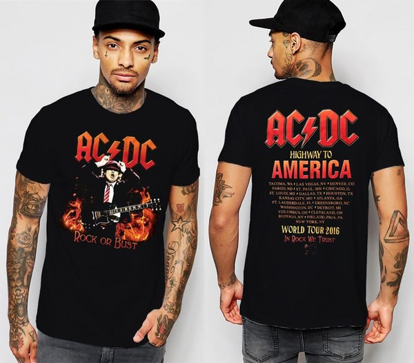 ACDC T-Shirt HIGHWAY TO AMERICA ROCK OR BUST 2016 TOUR Short Sleeve S to XXL Ropa De Hombre 2018 Novelty O-Neck Tops