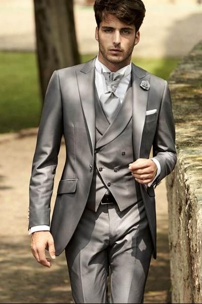 Cool Grey Groom Wear Peak Lapel Groom Tuxedos One Button Groomsmen Best Man Suit Mens Wedding Suits (Jacket+Pants+Vest+Tie)