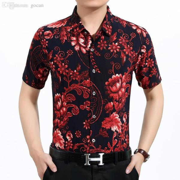 Wholesale-Camel Red Two Colors Mens New Design Hawaiian Summer Shirt Cotton Comfort Flower Print Shirt 3XL Men Short Sleeve Clothes
