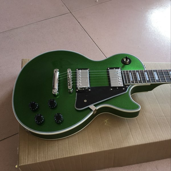 CUSTOM grüne silberne E-Gitarre Mahagoni Platte Palisander Griffbrett Mahagoni Rückseite Planke