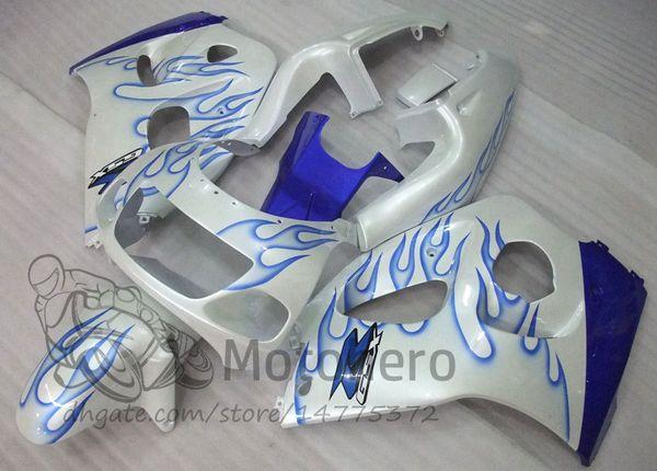 Carénages POUR SUZUKI SRAD GSXR600 GSXR750 1996 1997 1998 1999 2000 GSXR 600 750 96 97 98 99 00 GSX R600 R750 96-00 carénage blanc flamme bleue