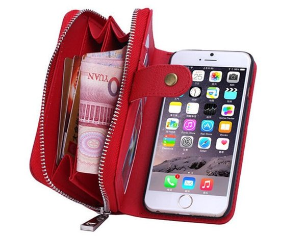 For Apple iPhone 8 7 6 6S 5 5S SE Plus 2 in 1 Zipper PU Leather Wallet Case For Samsung Galaxy Note 9 8 S9 8 Plus S7 S6 Edge Plus Cover Bags