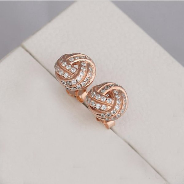 973f58eb6 Authentic 925 Sterling Silver Sparkling Love Knot Stud Earrings Fits  European Pandora Style Studs Jewelry Rose
