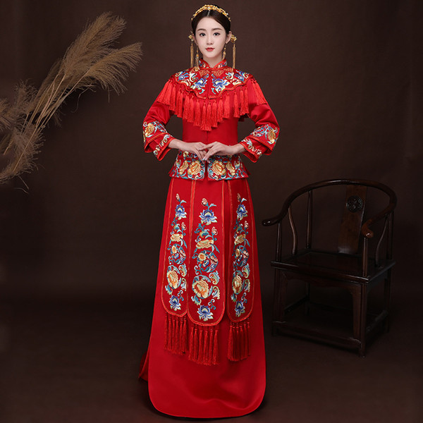 High Quality China Traditional Show bride dress clothes chinese style Wedding gown red evening vintage dress formal kimono