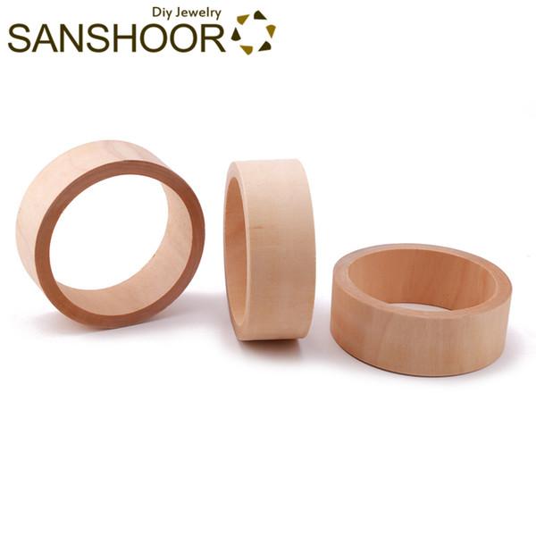 SANSHOOR Unfinished Flat Wooden Bracelet Bangles 7cm Inner Diameter 3cm Width Fit Diy Painting Wood Art Jewelry For Women 20Pcs