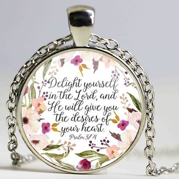 Christian Jewelry Delight Yourself in the Lord Necklace Psalm 374 Bible Verse Charm Necklaces Faith Inspirational Gift