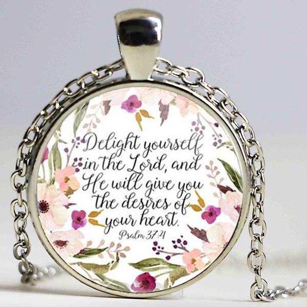 Христианские ювелирные изделия радовать себя в Господе ожерелье Псалом 374 стих Библии очарование ожерелья Вера вдохновляющий подарок