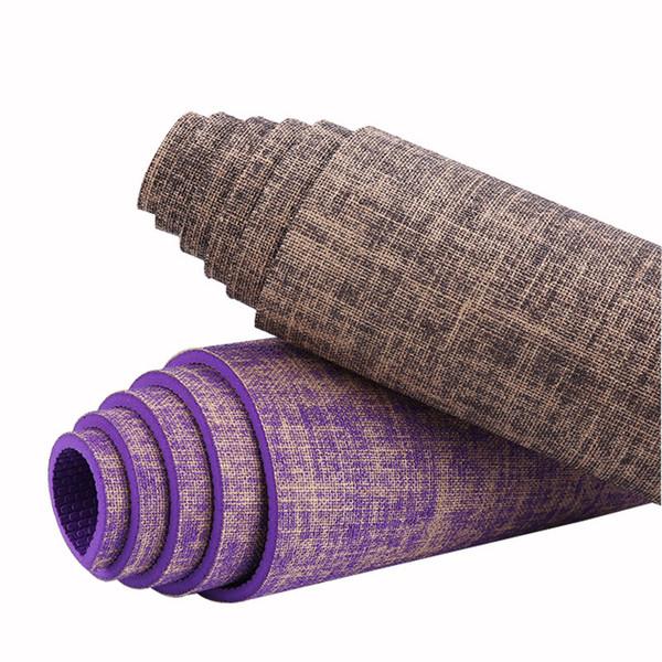 Tapete de yoga de linho PVC longo e grosso antiderrapante proteção ambiental exercício fitness rastreio PVC yoga mat
