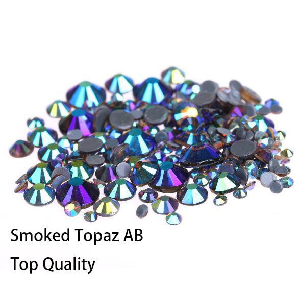 Hot Sale A++ Grade Quality Smoked Topaz AB Glass Crystals Strass Stones Hotfix Rhinestones For clothing Garment Accessorie