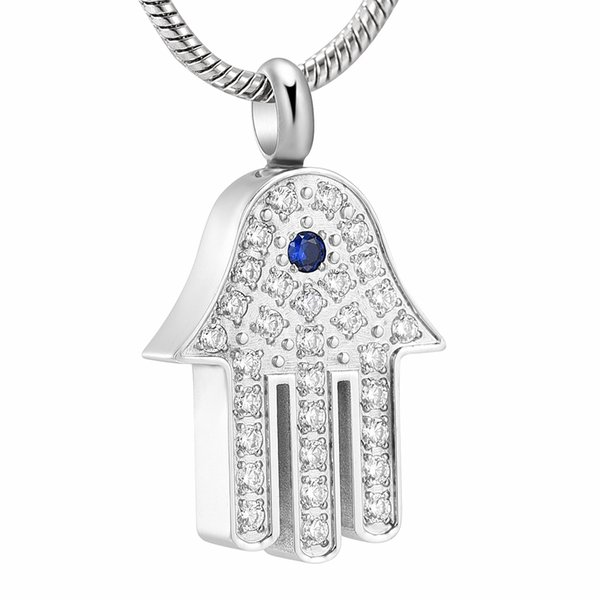 Inlay Crystal Egyptian Eye Fatima Hamsa Hand Cremation Pendant Necklace Stainless Steel Ashes Urn Keepsake Memorial Jewelry IJD10069