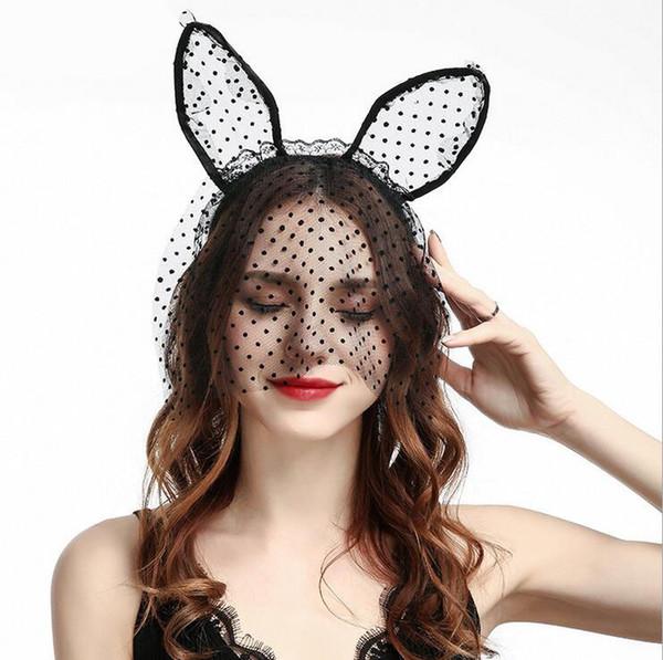 Halloween Party Lace Cat Ears Headband Headwear Party Masks - Black White Sex Women Hair Headbands Wedding Photography Hair Hoop Accessories