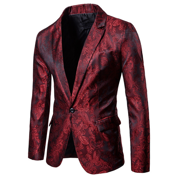 Men Red Floral Wedding Dress Blazer Jacket Business Slim Fit One Button Stage Jacket for Male Party DJ Stage Costume Blazers
