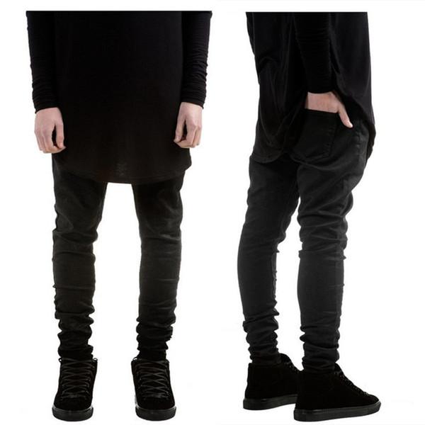 Distressed New Fashion Mens Black Skinny Jeans Pants Hi -Street Hip Hop Swag Men Denim Joggers Pants Famous Brand Designer Men Trousers