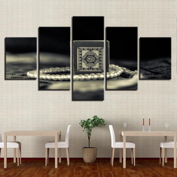 Acquista Tela HD Stampa Pittura Soggiorno Decor 5 Pezzi Islam Santo Corano  Immagini Wall Art Quadro Musulmano Poster Quadro Modulare A $37.91 Dal ...