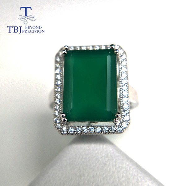 TBJ,Big gemstone Ring with natural green agate in 925 sterling silver grace and nobility gemstone jewelry for women ladies gift