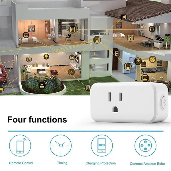 Wifi Plugue Inteligente 10A / 250 V EUA Tomada Padrão Inteligente Início Plugs de Alimentação Monitor de Controle Remoto Sem Fio Funciona Com Alexa