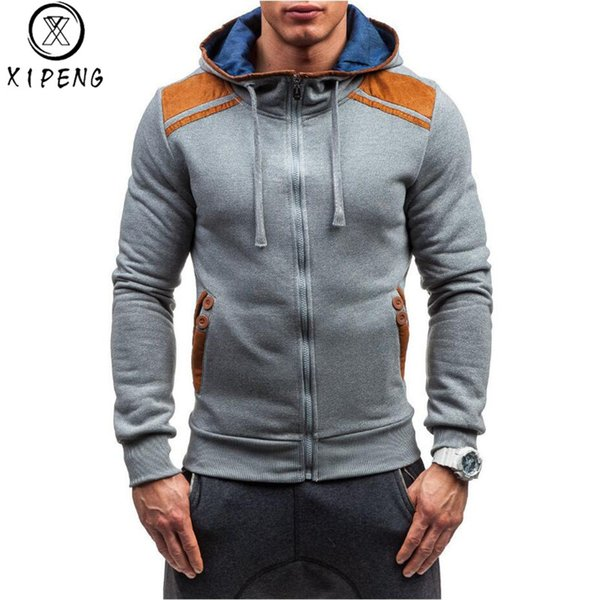 Hoodies Men 2018 Autumn Sudaderas Hombre Hip Hop Mens Brand Solid Zipper Hoodie Sweatshirt Slim Fit Mens PU Hoody US Size XXL