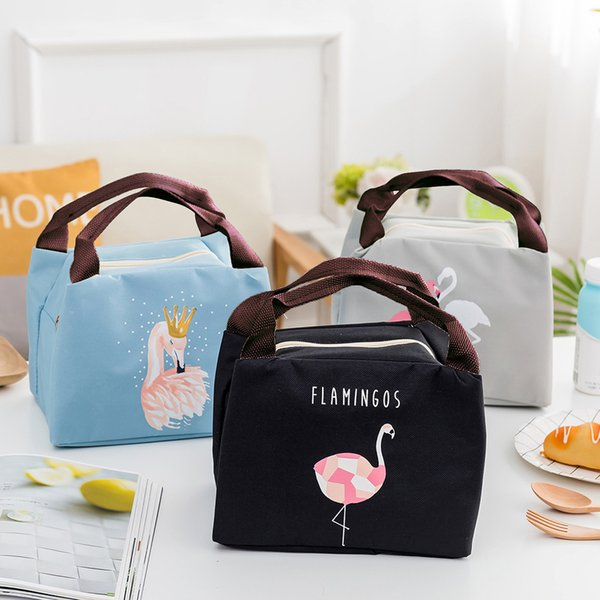Insulated Lunch Bag Thermal Flamingo Tote Bags Picnic Waterproof Portable Picnic Beach Food Fresh Keep Cooler