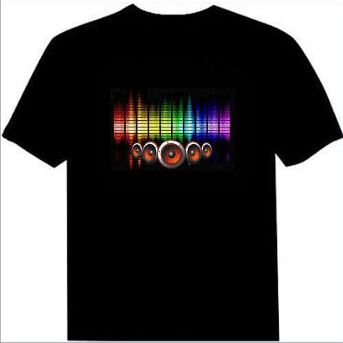 EL 깜박이 남자의 음성 활성화 LED 빛 T- 셔츠 남자 파티 콘서트 개성 패션 쇼 티셔츠 사운드 반짝이 티셔츠 크기 XXS-3XL