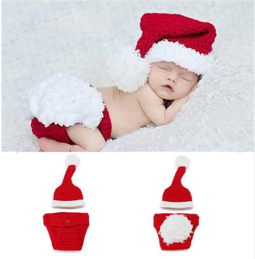 Newborn Baby Santa Claus Photo Props Infant Baby Christmas Hat Diaper Set Crochet Baby Hat Shorts Set for Photo Shoot
