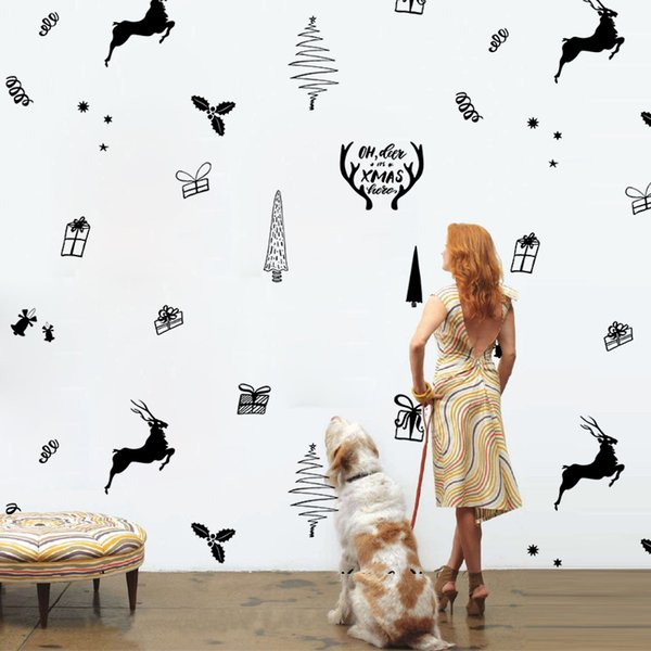 14pcs/set Merry Christmas Elk Wall Stickers Cat Dog Paws Sticker Furniture Cabinets Vinyl Decal Kids Room DIY Decoration Home Decor