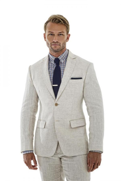 Summer Beige Linen Men Suits Custom Made Wedding Suits Blazer Tailored Tuxedo Jacket Men Groom Beach Prom 2 Pieces Slim Fit Terno Masculino