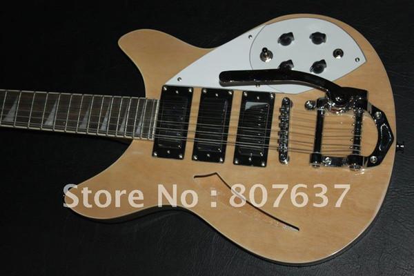 Ric25 cheap!! wholesale 12 strings JAZZ 3 pickup custom natural wood color electric guitar