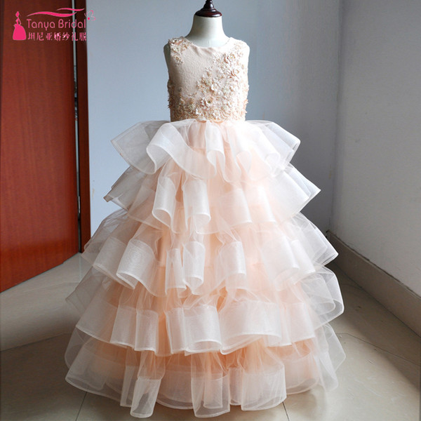 be8848bf081 Blush Princess Ball Gown Flower Girl Dresses Stunning Ruffles 3D Flowers  Sequined Girl s Pageant Gowns Real