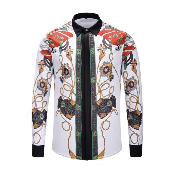 M- 2XL new italy Brand clothing 2019 New style Fashion Long sleeve shirt Medusa Crown gold chain Print 3d Men's Luxury banquet Shirt
