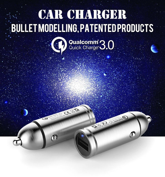 18 W5 V2.4A Bullet Quick Charge 3.0 Mini Snelle USB Auto-oplader for iphone7 plus Samsung HTC With the Retail Box