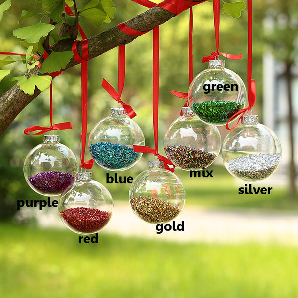 Dia6cm Clear Glass balls Christmas Ornaments decoration with glitter decor Glass Pendants Event Wedding Party Balls x 10