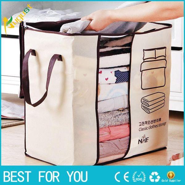 Hot Sale 2018 Non-woven Portable Clothes Storage Bag Organizer 45.5*51*29cm Folding Closet Organizer For Pillow Quilt Blanket Bedding
