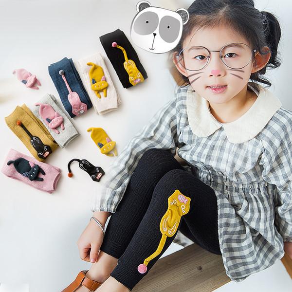 2018 Spring Autumn Children Girls Leggings Pant Cartoon Cat eating Fish Accessories Pattern Print Children Pants Elastic Waist Kids Leggings