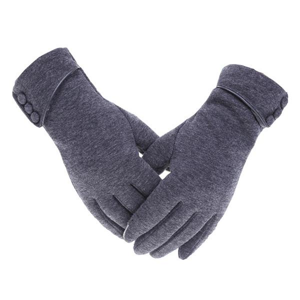 Women Winter Warm Gloves Touch Screen Phone Windproof Button Thick Gloves Velvet Cashmere Full Finger Warm Touchscreen