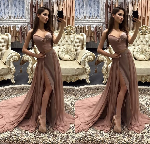 Fashion Two Pieces Long Evening Dresses Brown Sweetheart Sleeveless A Line Floor Length Evening Gowns Formal Women Special Occasion Dress