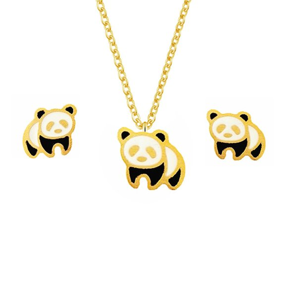 GORGEOUS TALE Chinese National Treasure Cute Panda Charms Necklace and Earrings Jewelry Set Stainless Steel Women Necklace Party
