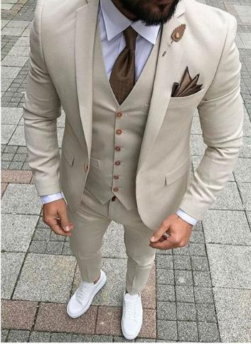 Cool Groom Wear Beige Notch Lapel Groom Tuxedos One Button Groomsmen Best Man Suit Mens Wedding Suits (Jacket+Pants+Vest+Tie) 326