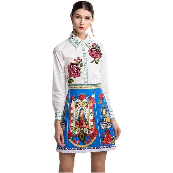 2019 New Angel Print shirt Lapel Neck Sequins Beads And High Skirt For Womens Fashion Print Tops And Skirts 2 Pieces Sets w16